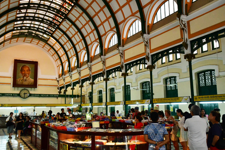 Ho Chi Minh City, Saigon, Socialist Republic of Vietnam - august 16 2018 : the post office built by the French Stock Photo - 109599618