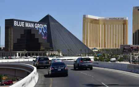 Las Vegas, USA - july 11 2016 : the luxury Luxor and Mandalay Bay casino hotel