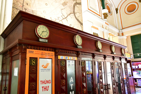 Ho Chi Minh City, Saigon, Socialist Republic of Vietnam - august 16 2018 : the post office built by the French Stock Photo - 109960141