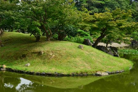 Hikone, Japan - august 9 2017 : the historical Genkyuen park