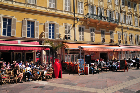 Nice, France - april 19 2016 : restaurant in the picturesque city center
