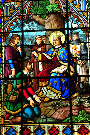 Villiers le Morhier, France - may 6 2016 : the Saint Etienne church window Editöryel
