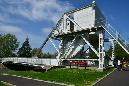 Benouville; France - april 22 2018 : the Pegasus bridge memorial