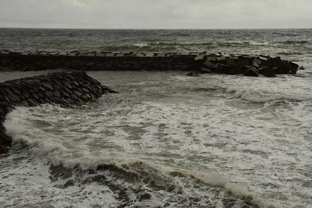 Calheta, Madeira, Portugal - february 25 2018 : storm in the port Stok Fotoğraf