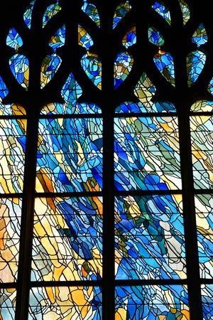 Vernon, France - july 27 2018 : the gothic collegiate church window
