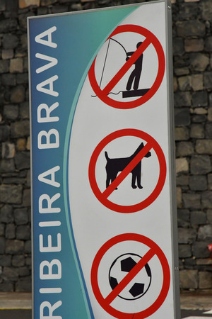 Ribeira Brava; Madeira; Portugal - february 23 2018 : forbidden sign Banque d'images - 110142606