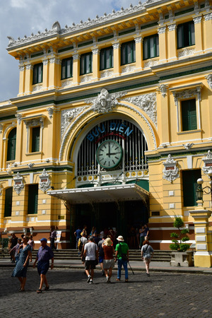Ho Chi Minh City, Saigon, Socialist Republic of Vietnam - august 16 2018 : the post office built by the French Stock Photo - 110142616