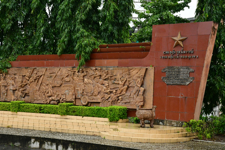 Sa Dec; Socialist Republic of Vietnam - august 18 2018 : monument for the glory of communist army