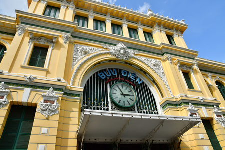 Ho Chi Minh City, Saigon, Socialist Republic of Vietnam - august 16 2018 : the post office built by the French Stock Photo - 115792406