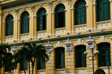 Ho Chi Minh City, Saigon, Socialist Republic of Vietnam - august 16 2018 : the post office built by the French Stock Photo - 115890417