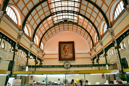 Ho Chi Minh City, Saigon, Socialist Republic of Vietnam - august 16 2018 : the post office built by the French Stock Photo - 116484348
