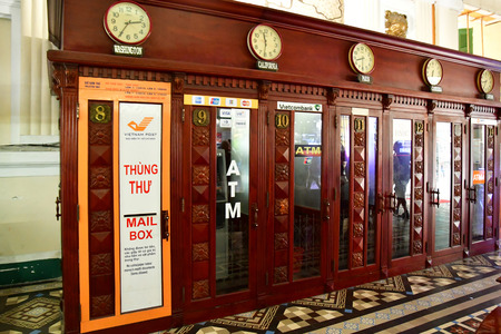 Ho Chi Minh City, Saigon, Socialist Republic of Vietnam - august 16 2018 : the post office built by the French Stock Photo - 116506474