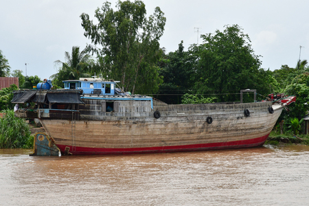 Kingdom of Cambodia - august 19 2018 : the Mekong near the border between Vietnam and Cambodia