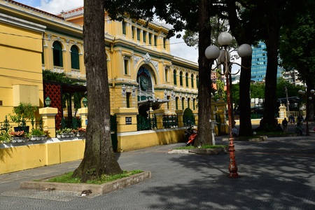 Ho Chi Minh City, Saigon, Socialist Republic of Vietnam - august 16 2018 : the post office built by the French Stock Photo - 117479725