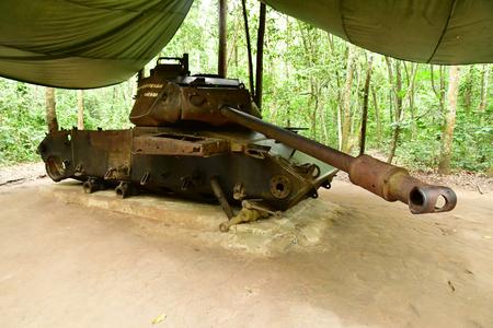 Cu Chi, Socialist Republic of Vietnam - august 16 2018 : the Cu Chi Vietcong tunnels near Saigon Stock Photo - 119699494