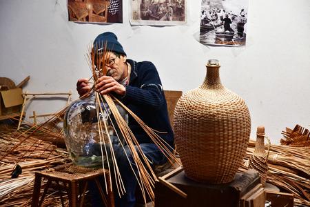 Camacha, Madeira, Portugal - february 23 2018 : basketwork Redactioneel