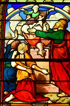 Les Mureaux, France - june 9 2018 : the Saint Pierre Saint Paul church stained glass window Editorial