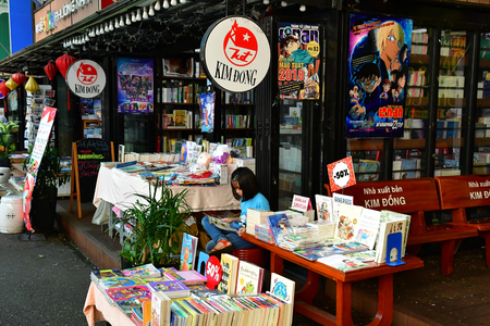 Ho Chi Minh City, Saigon, Socialist Republic of Vietnam - august 16 2018 : the book shop street near the post office Stock Photo - 119733004