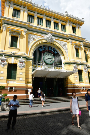 Ho Chi Minh City, Saigon, Socialist Republic of Vietnam - august 16 2018 : the post office built by the French Stock Photo - 119733166