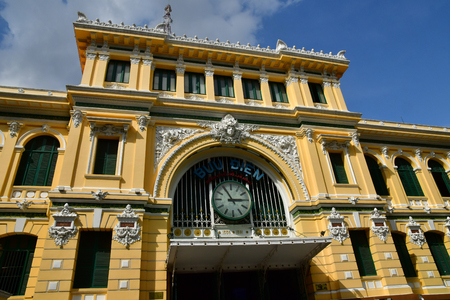 Ho Chi Minh City, Saigon, Socialist Republic of Vietnam - august 16 2018 : the post office built by the French Stock Photo - 119733226