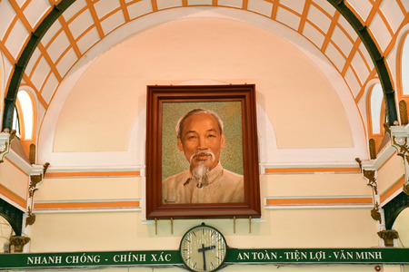 Ho Chi Minh City, Saigon, Socialist Republic of Vietnam - august 16 2018 : the post office built by the French Stock Photo - 119785069