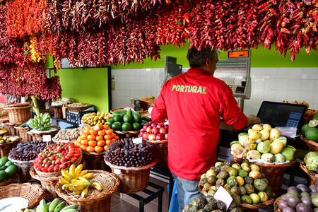 Funchal, Portugal - february 21 2018 : chili in the covered market in the city centre