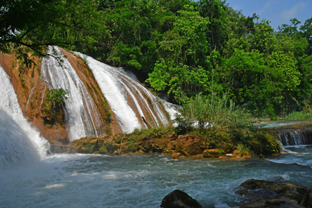 Tumbala; United Mexican States - may 16 2018 : the cascades of Agua Azul