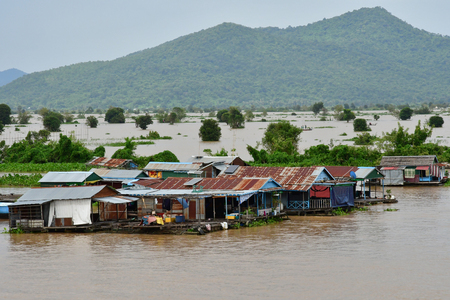 Kampong Chhnang; Kingdom of Cambodia - august 22 2018 : a picturesque floating village near Tonle lake Editöryel