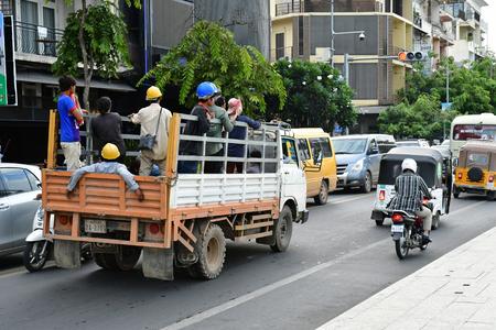 Phnom Penh; Kingdom of Cambodia - august 20 2018 : the picturesque city centre