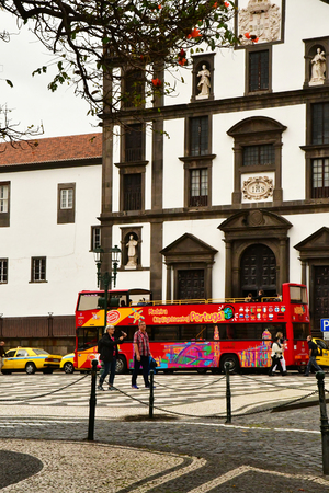 Funchal, Portugal - february 22 2018 : touristy bus in the city centre Editöryel