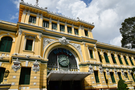 Ho Chi Minh City, Saigon, Socialist Republic of Vietnam - august 16 2018 : the post office built by the French Stock Photo - 121681143