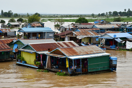 Kampong Chhnang; Kingdom of Cambodia - august 22 2018 : a picturesque floating village near Tonle lake Editorial