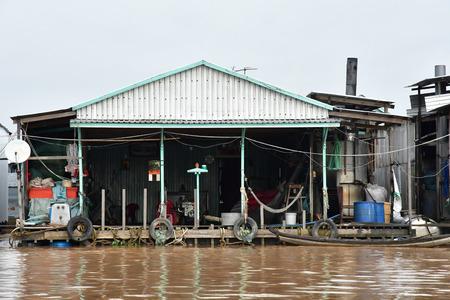 Chau Doc; Socialist Republic of Vietnam - august 19 2018 : floating fish farm