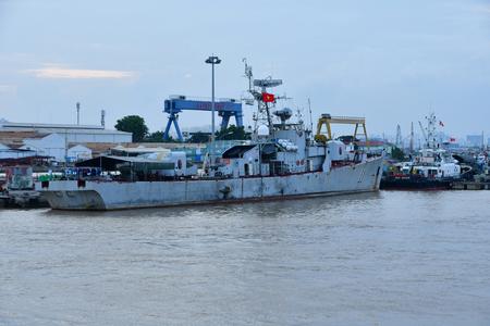 Ho Chi Minh City, Saigon, Socialist Republic of Vietnam - august 16 2018 : boat on Saigon river