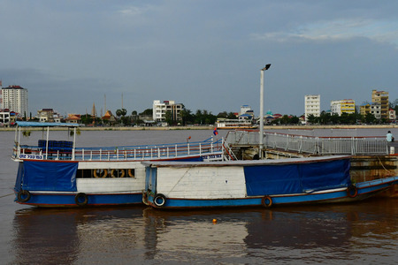 Phnom Penh; Kingdom of Cambodia - august 20 2018 : boat on the Mekong Editorial