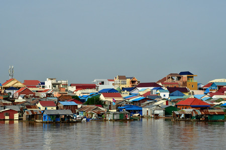 Phnom Penh; Kingdom of Cambodia - august 21 2018 : riverside view from a boat Editorial