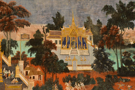 Phnom Penh; Kingdom of Cambodia - august 20 2018 : fresco in the Royal Palace