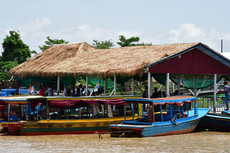 Siem Reap; Kingdom of Cambodia - august 23 2018 : riverside view from a cruise boat
