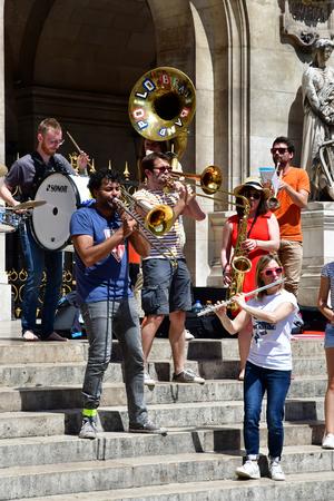 Paris; France - may 21 2017 : musicians in front of the Opera de Paris