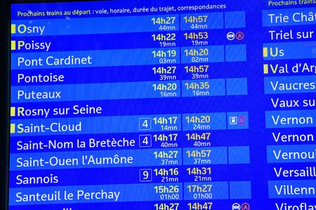 Paris; France - september 30 2018 : departure board in the Saint Lazare station