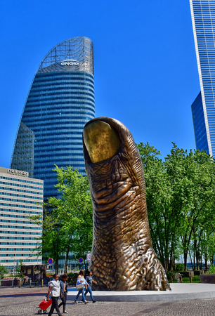 Paris La Defense; France - may 25 2017 : The Thumb by Cesar in La Defense district, the biggest business distric in Europe Banque d'images - 121054052