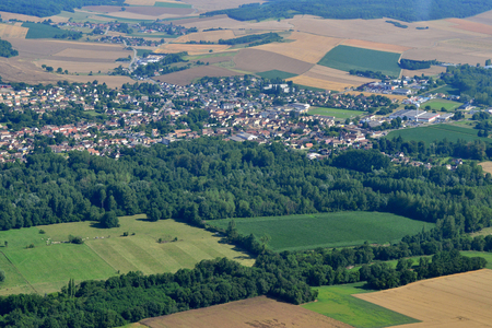 Gasny, France - july 7 2017 : aerial photography of the city Stok Fotoğraf