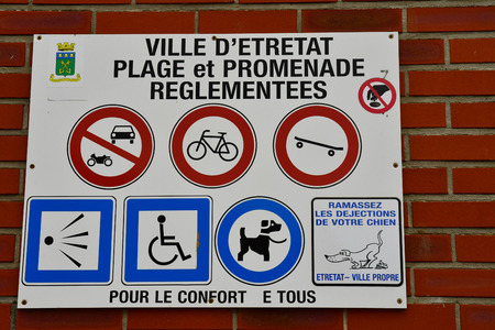 Etretat, France - may 10 2017 : forbidden signs in the picturesque seaside town in summer
