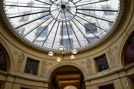 Paris; France - april 2 2017 : the Galerie Vivienne in the second arrondissement, built in 1823