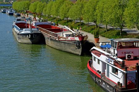 Conflans Sainte Honorine; France - april 20 2018 : barge on the seine river