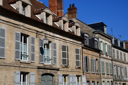 Magny en Vexin; France - april 3 2017 : the picturesque historical centre of the city