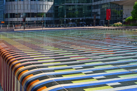 Paris La Defense; France - may 25 2017 : The Monumental Fountain by Yaacoc Agam in La Defense district, the biggest business distric in Europe
