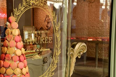 Paris; France - april 2 2017 : macaroon shop in the rue de Castiglione Stock fotó