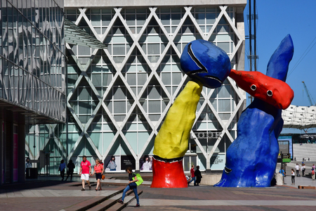 Paris La Defense; France - may 25 2017 : Fantastic figures by Joan Miro in La Defense district, the biggest business distric in Europe