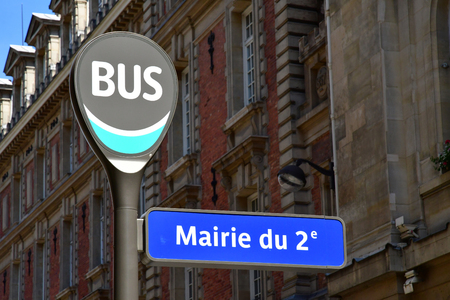 Paris; France - april 2 2018 : bus stop in the rue de la Banque